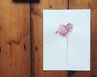 Watercolour flower painting, Poppy by @flowersaftermidnight - A4 size