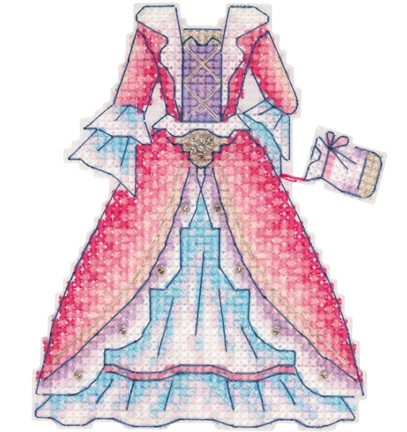 Cross stitch Needle embroidery kit Princess with 3 dresses Free standing embroidery