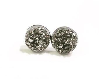 12mm Druzy Earrings, Hypoallergenic Earrings, Stainless Steel Earrings, Gunmetal