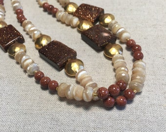 Mother of pearl and goldstone necklace