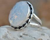 Opaline Ring, Oval Blue Opaline sterling silver ring, Opaline Solid silver ring Jewelry, October Gemstone, Opal Birthstone Jewelry