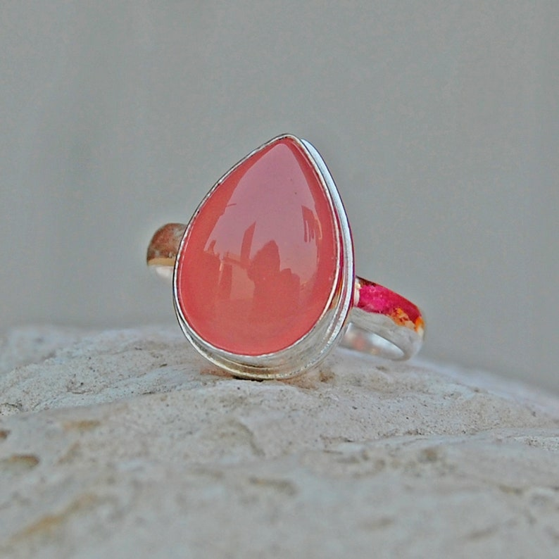Rose Gold Ring Chalcedony Ring 22K Yellow Gold Peach Color Chalcedony Gemstone 925 sterling silver ring Aritsan Ring