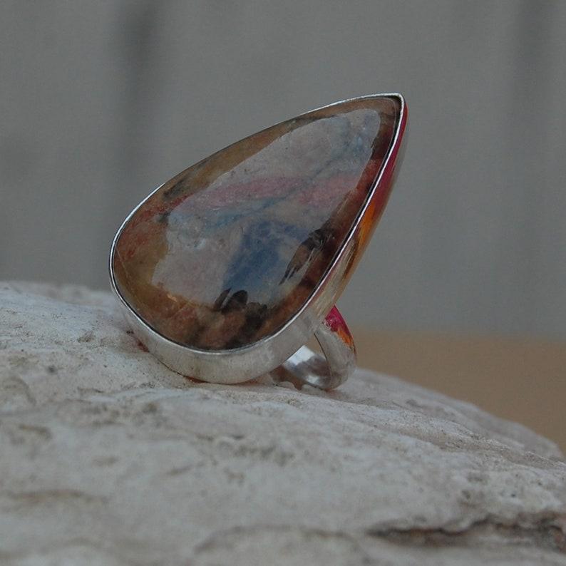 Pear Cab Rhyolite Jasper Gemstone 925 sterling silver ring 22K Yellow Gold Rose Gold Ring Rhyolite Jasper Ring Aritsan Ring
