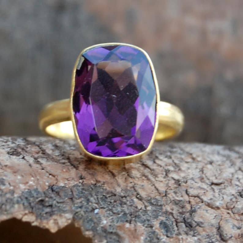 Amethyst Ring Green Amethyst 14K Yellow Gold Plated Ring Jewelry Cushion Faceted Purple Amethyst sterling silver ring
