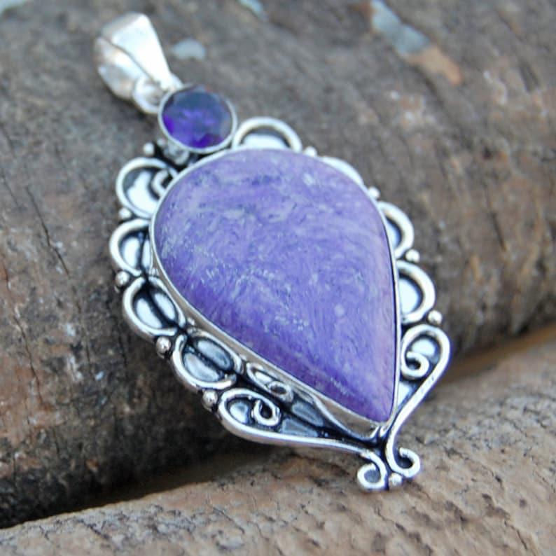 Pear Morado Opal Morado Opal silver Handmade Pendant Jewelry Morado Opal Pendant Amethyst sterling silver Pendant