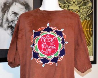 Homemade Batik Flower Mandala Ganesh Ganesha Elephant XL Tshirt Shirt Hippie Hindu
