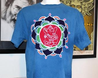 Homemade Batik Flower Mandala Ganesh Ganesha Elephant Tshirt Shirt Hindu Hippie Medium