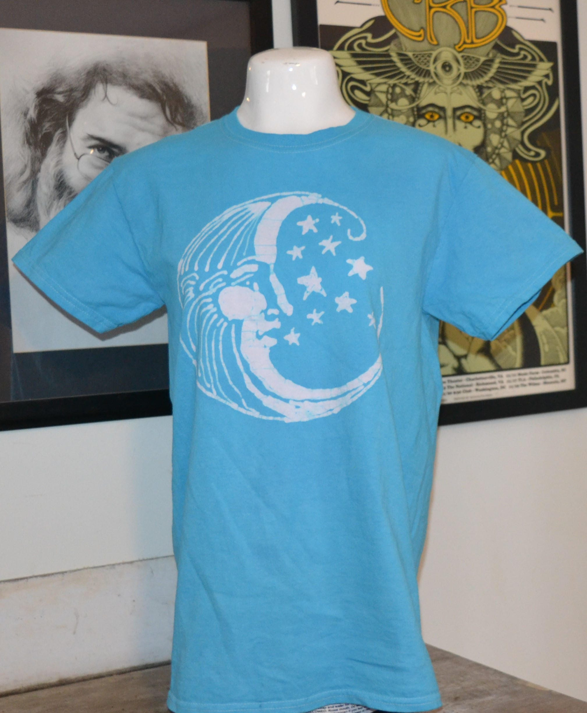 Homemade Batik Crescent Man In The Moon Blue Tshirt Shirt Etsy
