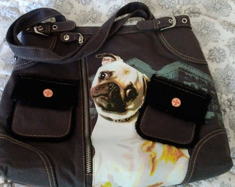 Fuzzy Nation Plush lined purse. Pug photo embellishment.