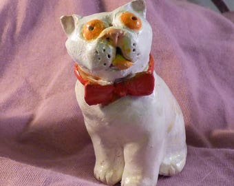 White Exotic Cat with Bow