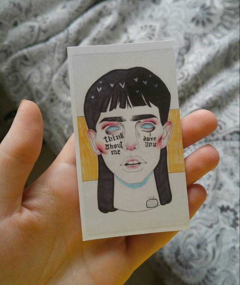 i dare you Cute Decorative Art Sticker think about me