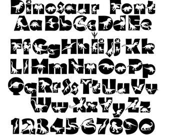 DINOSAUR FONT SVG, Dinosaur Alphabet Svg, Dinosaur Svg Cut Files For Cricut, Dinosaur Kids Alphabet