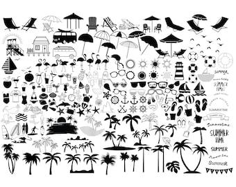 BEACH SVG Bundle, SUMMER Svg, Beach Clipart, Summer cut files for Cricut, Beach Life Svg