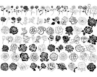 ROSE SVG Bundle, ROSES Svg Bundle, Rose Clipart Bundle, Rose Svg cut files for Cricut, Flowers Svg