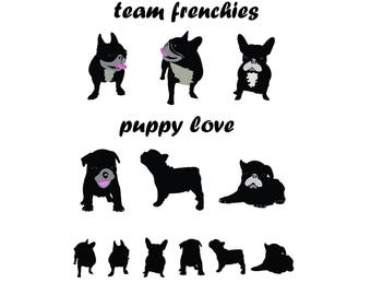 Frenchies Silhouette Etsy
