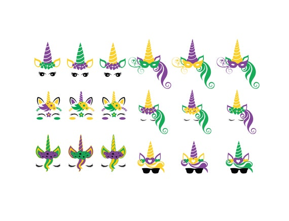 Mardi Gras Unicorn Svg Files Mardi Gras Unicorn Clipart Etsy