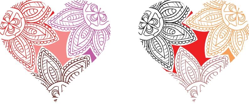 Download Mandala Heart SVG Valentine's Day SVG Love Silhouette | Etsy