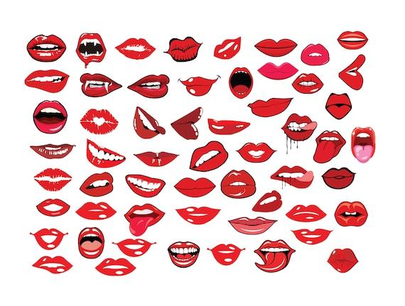 Lips Svg Bundle Lips Clipart Bundle Biting Lips Svg Etsy