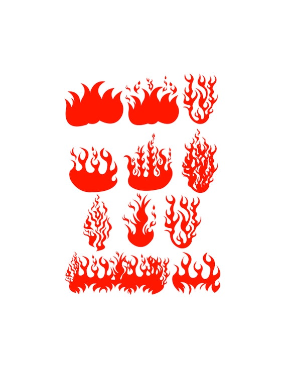 Fire Svg Files Fire Clipart Fire Dxf Files Flames Etsy