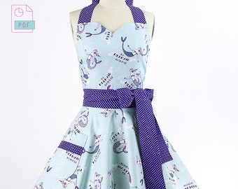 How To Sew A Full Retro Apron for Women - A Printable Sewing Apron Pattern + Tutorial - Full, Double Skirts, and Sweetheart Neckline Aprons