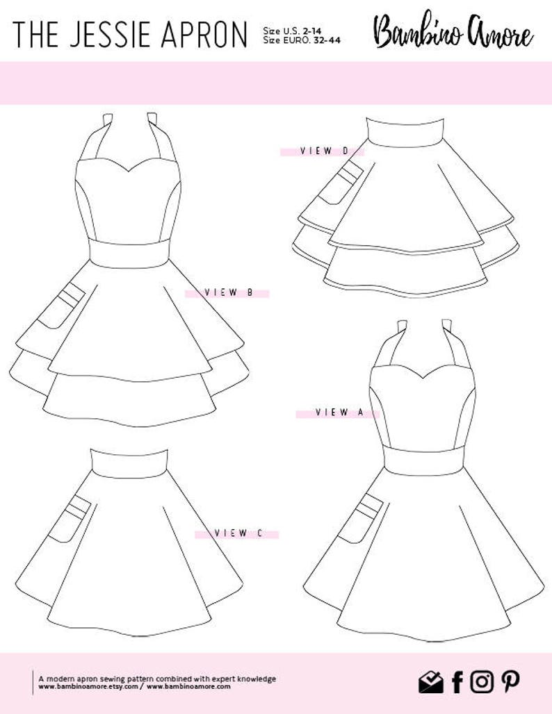 image regarding Printable Sewing Patterns titled How Towards Sew A Retro Apron for Ladies // A Printable Sewing Habit + Guidebook // Comprehensive, 50 percent, Double Skirts, and Sweetheart Neckline Aprons