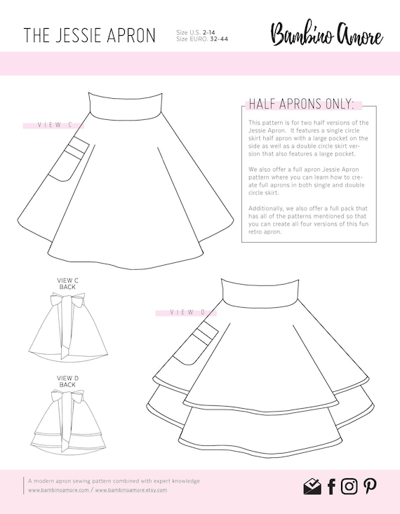 graphic regarding Printable Sewing Patterns referred to as How In the direction of Sew A 50 percent Retro Apron for Women of all ages - A Printable Sewing Habit + Guideline - Complete and Double Skirts 50 percent Retro Aprons