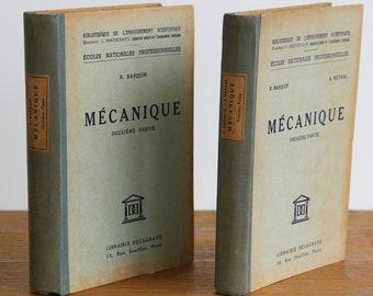 French Mechanical Books first and second part ''Mécanique'' Delagrave Bookstore Paris 1950
