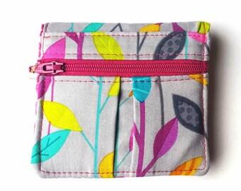 Mini Wallet, Women's Wallet, Fabric Wallet, Bifold Wallet, Small Wallet, Cardholder, Pocket Wallet, Leaves, Cute Wallet