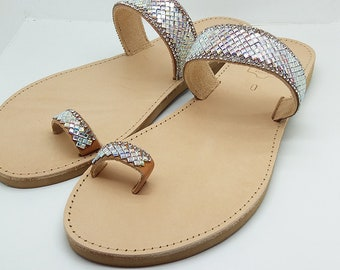 Leather Sandal with Strass