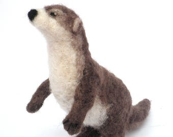 Otter,Needle Felted Otter,NeedleFelted Animal,Soft Sculpture,Gift,Wool,Needle Felted,OOAK,Natural Fiber,Collectible