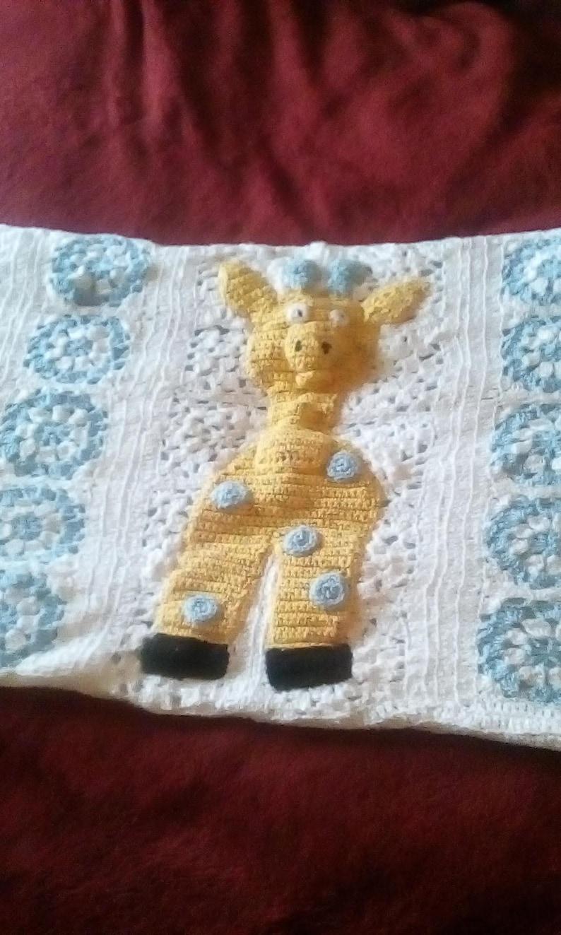 Handcrafted Crocheted Giraffe Crib Runner Afghan