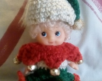 "Crocheted Christmas Elf ""Cuppie"" Doll Decoration"