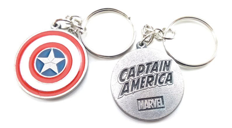Captain America Keychain Keyring Key double sided Pendant Pewter Silver High Quality!