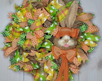 Orange Easter Bunny Wreath, Easter Bunny Wreath, Easter Wreath, Door Wreath, Front Door Wreath, Spring Wreath, Home Decor