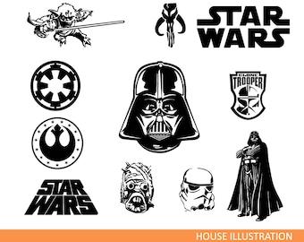 Star war svg - Star war silhouette - Star war vector - Star war digital clipart for Design or more, files download svg, png