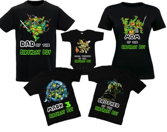 Birthday Teenage Mutant Ninja Turtles Shirts Ninja Turtles Family T-Shirts Birthday Shirts Leonardo Raphael Donatello Michelangelo Tee