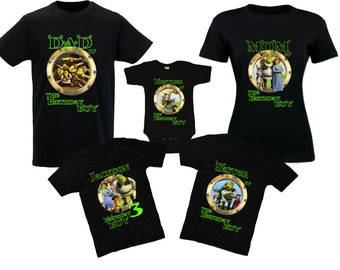 Birthday Shrek Shirts Shrek Family T-Shirts Birthday Shirts Shrek Princess Fiona Donkey Puss in Boots Dragon The Gingerbread Man