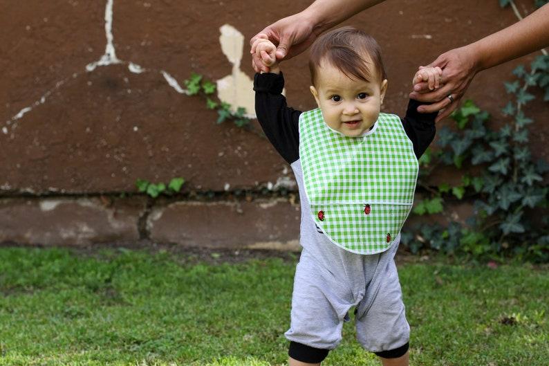 Waterproof Bib Reusable Bib Oilcloth Easy-Clean Bib Small Green Gingham Baby Bib One Wipe Clean