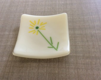 Small square dish, hand decorated fused glass jewelry trinket holder candle burner serving dish