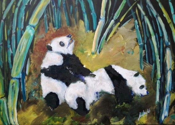 Pandas And Bamboo Orig Pandi In Bambus Etsy