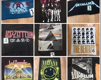 band flannel shirt Luke Bryan Katy Perry Nirvana Upcycled concert Pick artist pick size Ramones panic at the disco Woodstock