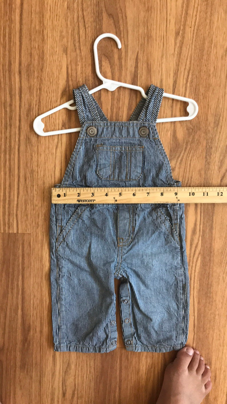 ACDC upcycled striped overalls baby unisex 3-6 months