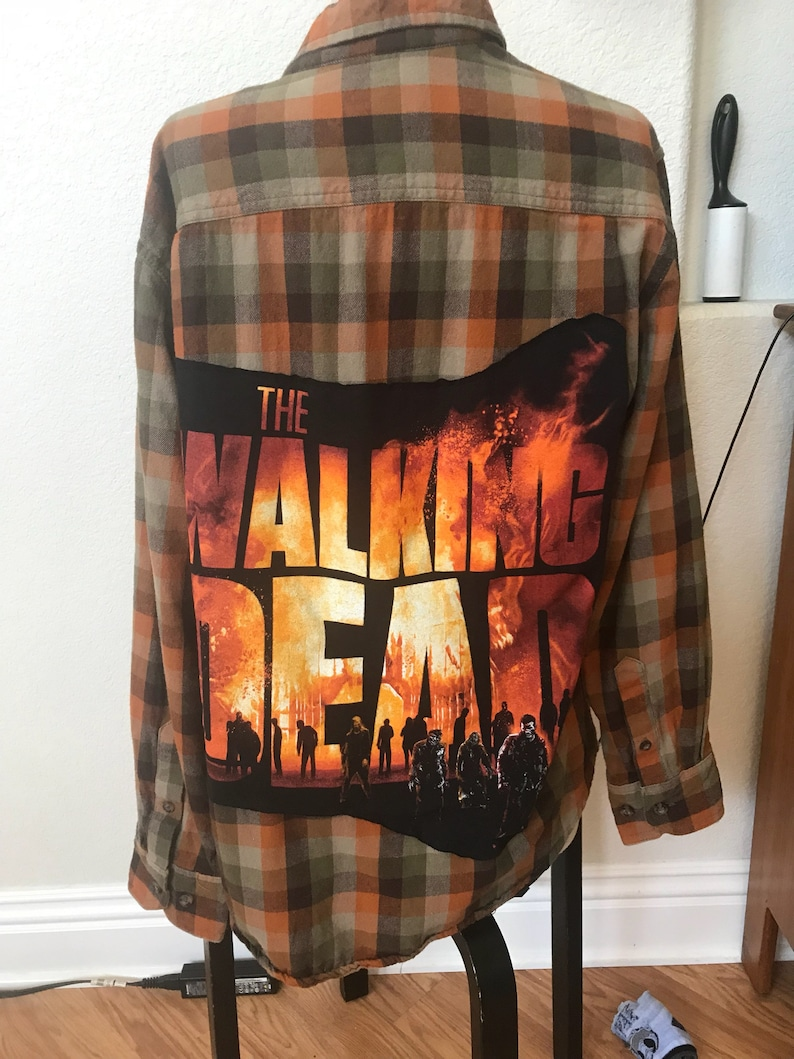 The walking dead flannel shirt upcycled mens  unisex medium