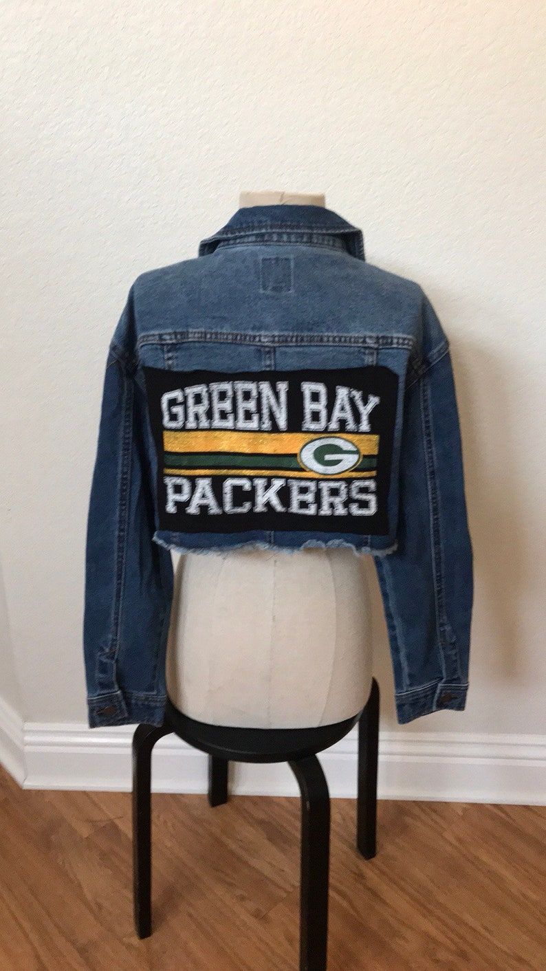 1f46fb3d Green Bay Packers upcycled jean jacket NwT size medium