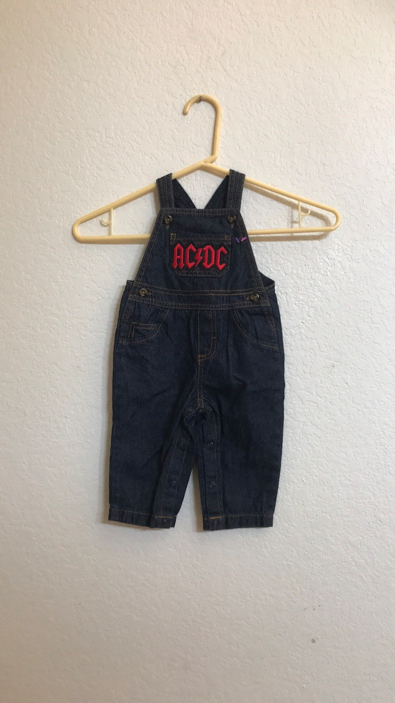 ACDC upcycled overall by carter/'s dark denim  jean size 6 month