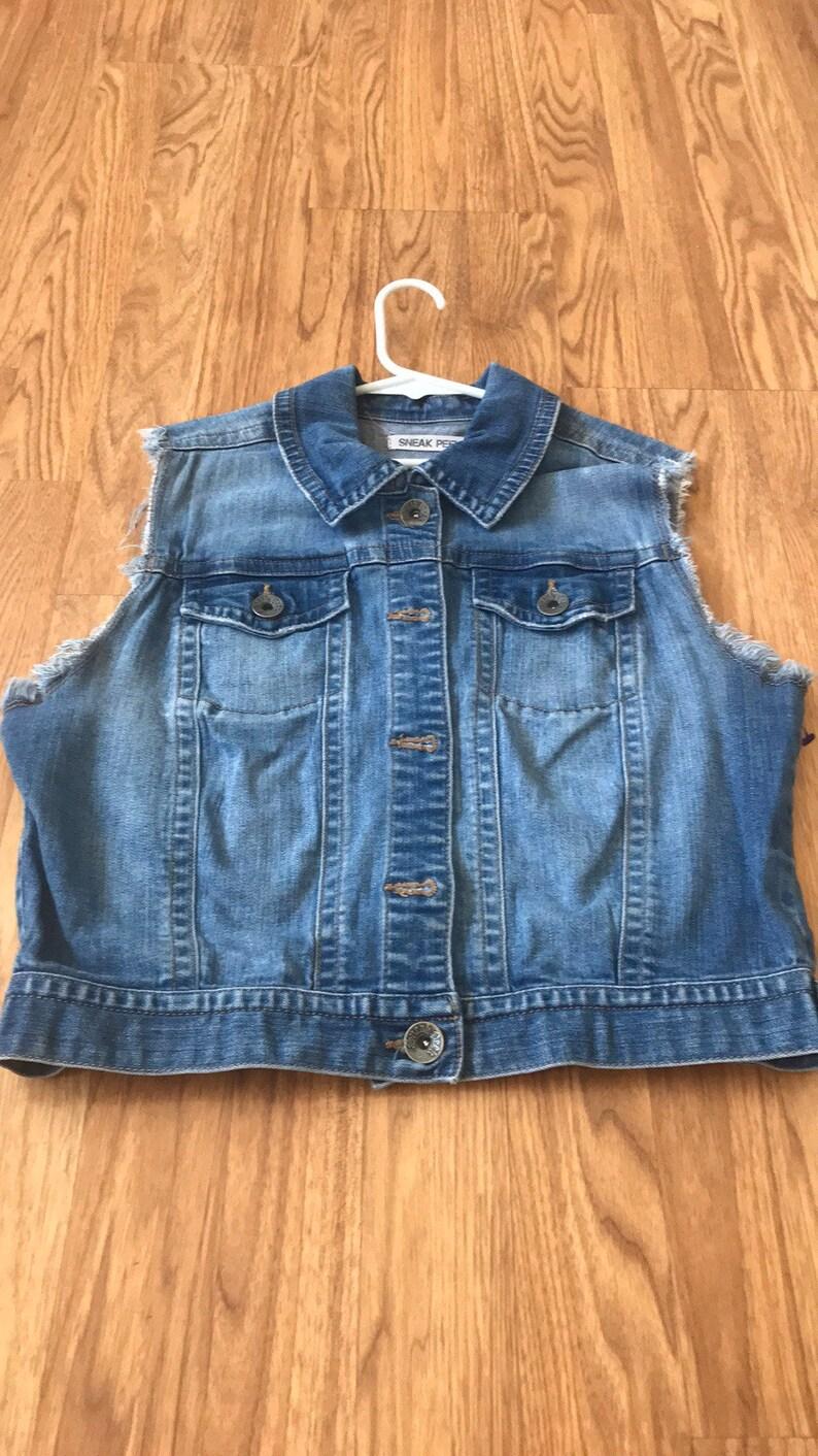 Guns N Roses upcycled jean jacket denim jacket by sneak peek size medium