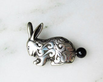 Sterling Silver Jerlain Bunny Rabbit Brooch Pin