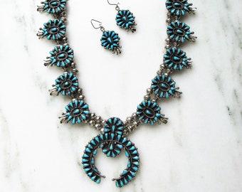 Zuni Squash Blossom Necklace & Earrings Set