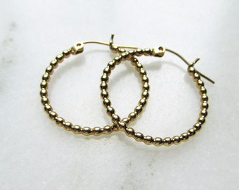 14K Yellow Gold Bead Ball Hoop Earrings