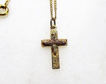Mini 14K Rose Gold Religious Cross PendantCharm #1910